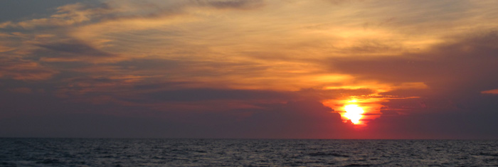 Sunrise on our way out the the Gulf Stream (Photo by Andy McGann)