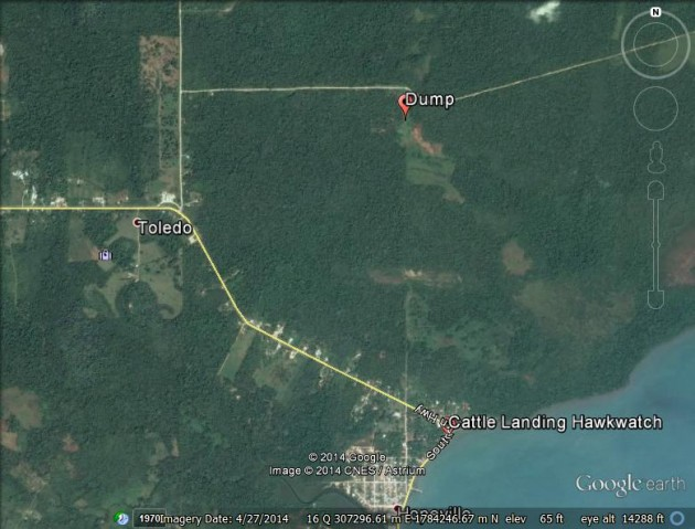 Map of local dump in relation to BRRI Cattle Landing Hawkwatch