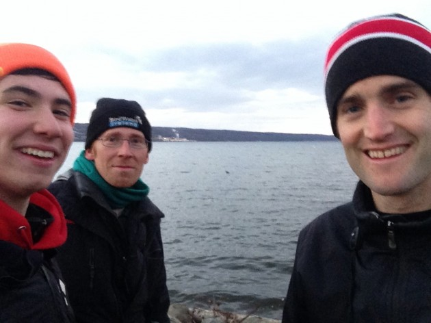 Me, Jay, and Tim with the Northern Gannet in the middle (Photo by Nathan Goldberg)