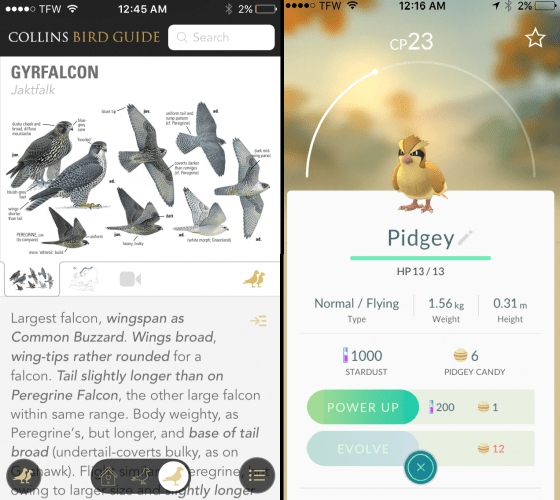 Species account of a raptor in Collin's Bird Guide (left) vs. Species account of a Pokemon raptor in Pokemon Go (right)