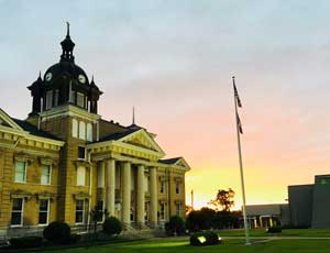 Union County MS Courthouse near sunset