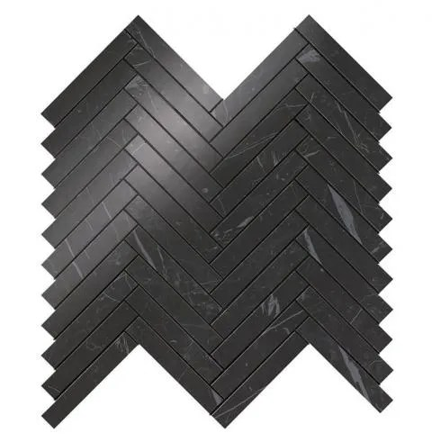 marvel stone nero marquina herringbone wall tile polished 11 8x12