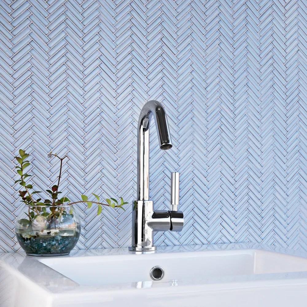 glazed herringbone mosaic ceramic