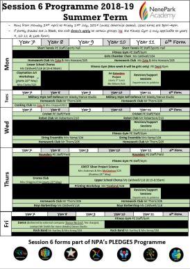 Session 6 Timetable for the Summer 2019 – Nene Park Academy