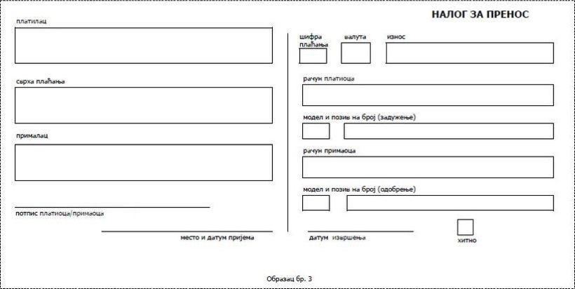 odluka o obrascima platnih naloga - prilog 1 - izgled i raspored elemenata na obrascima platnih naloga koji se izdaju na papiru 3