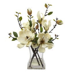 Nearly Natural - 4534-WH - Magnolia Arrangement w/Vase