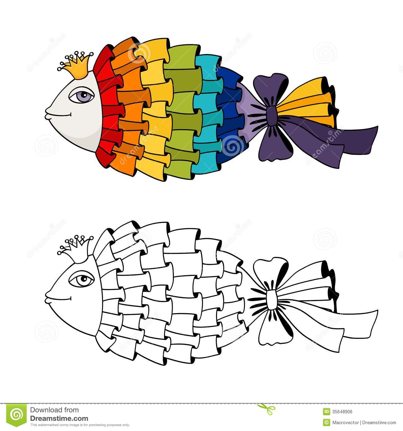 Rainbow Fish Coloring Pages