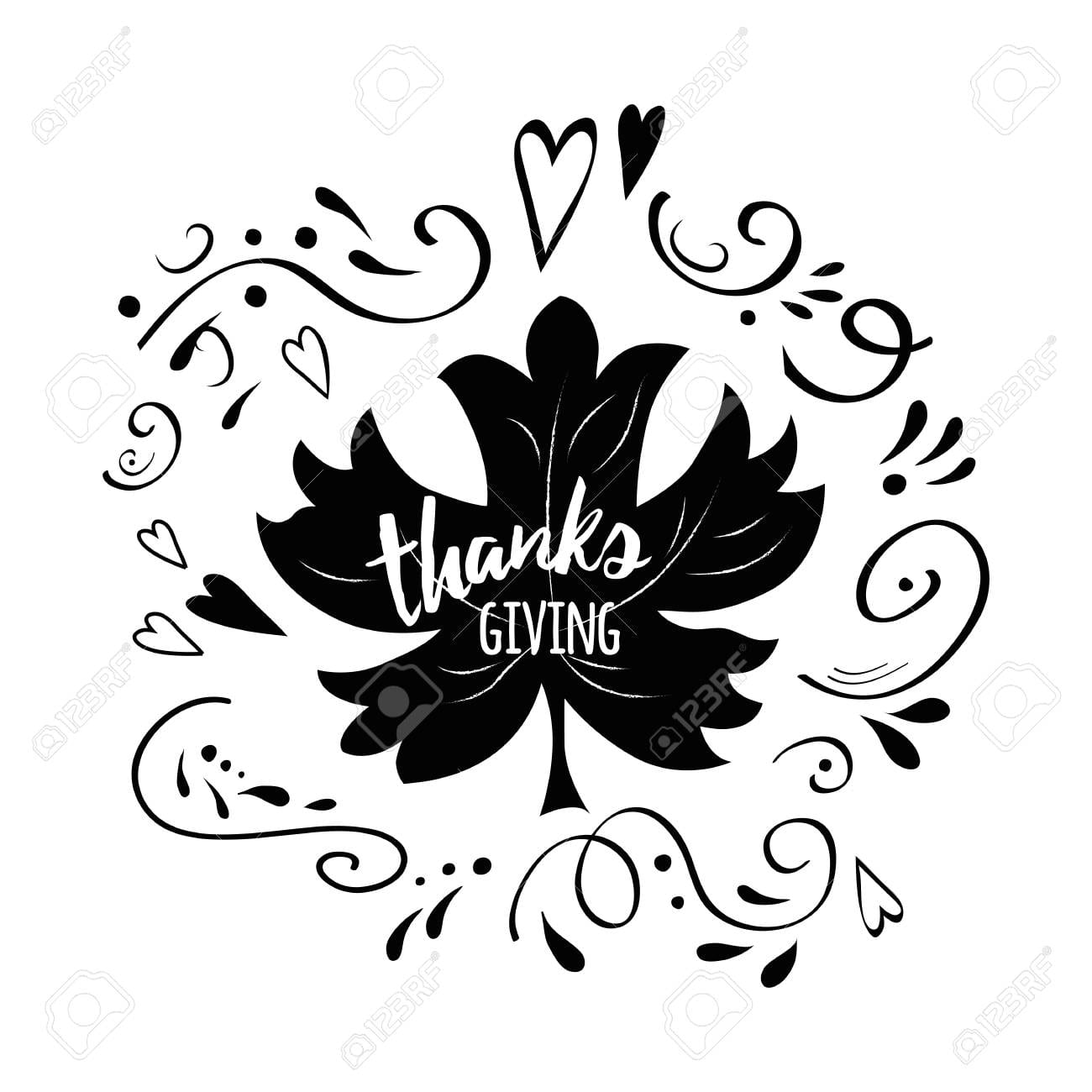 A Vector Print Thanksgiving Decorated Maple Leaf Shape On