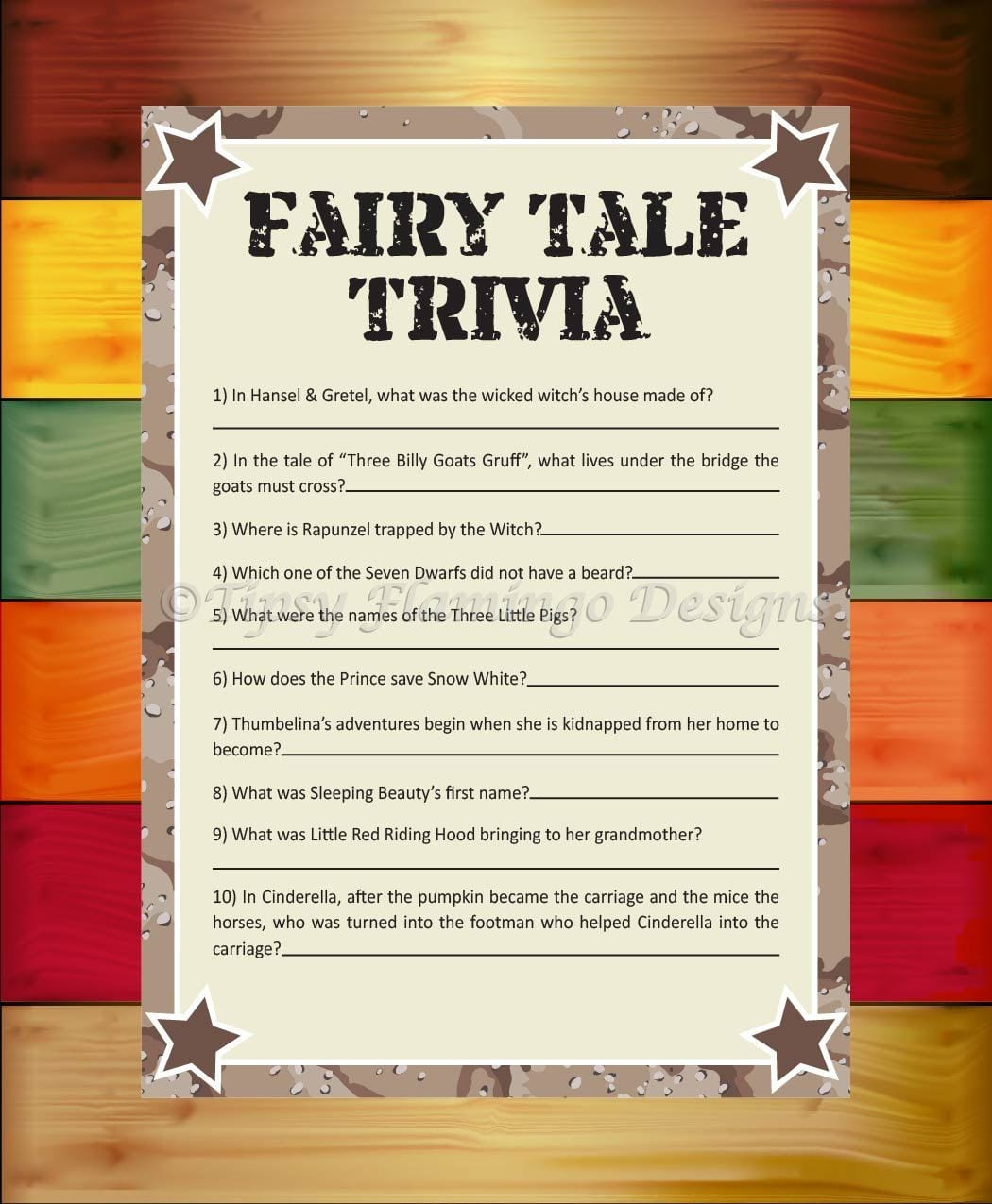 Fairy Tale Trivia Baby Shower Game Shower Game Desert