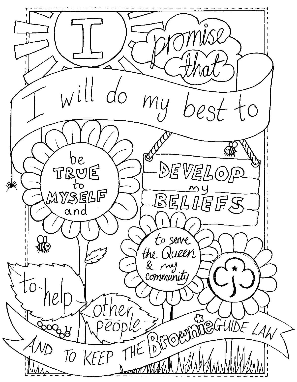 Girl Scout Promise Coloring Pages