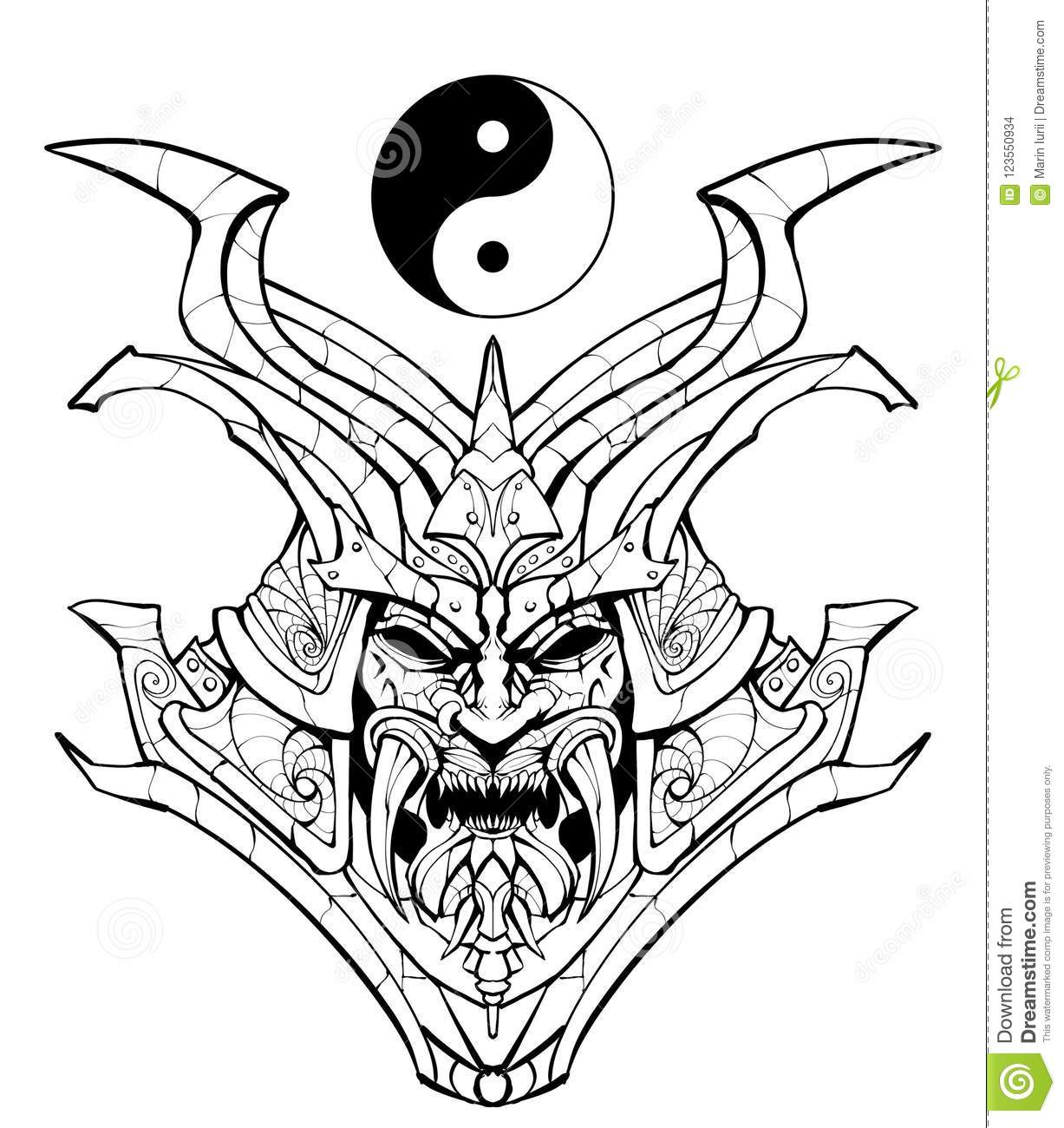 Coloring Page Sinister Samurai Mask Stock Illustration Neo Coloring