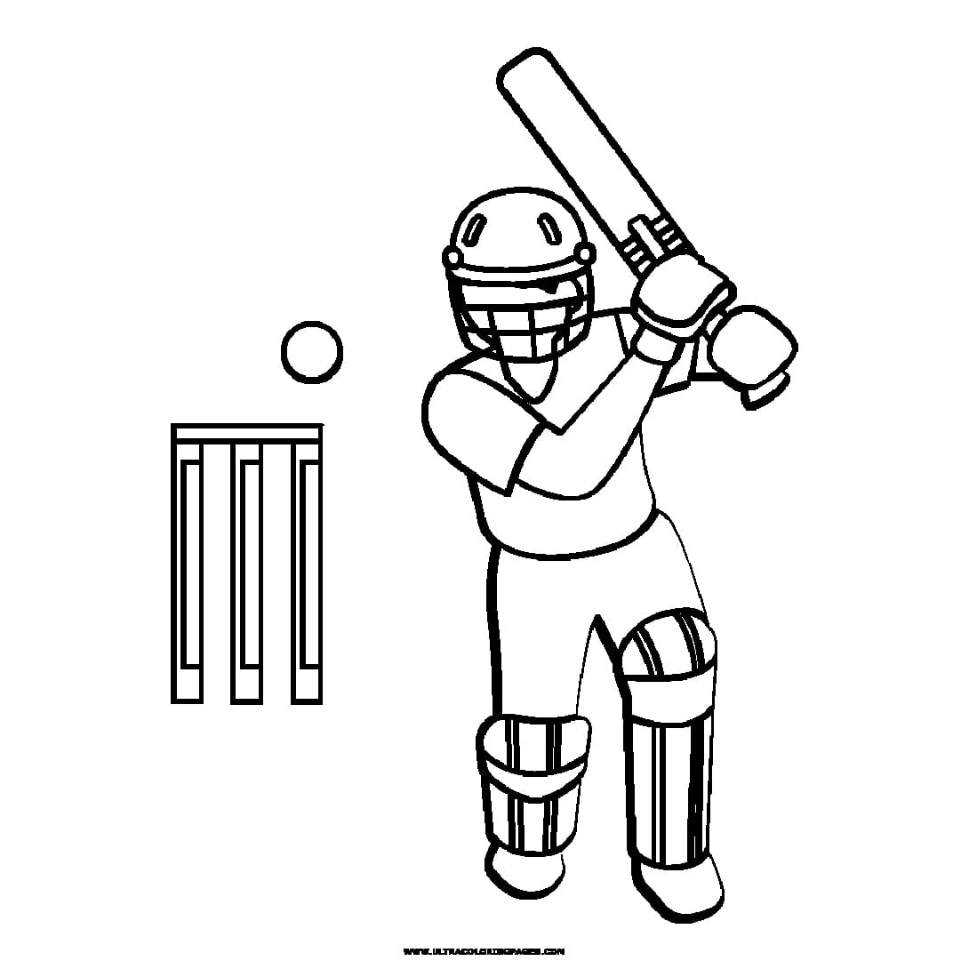 Cricket Bat Colouring Pages