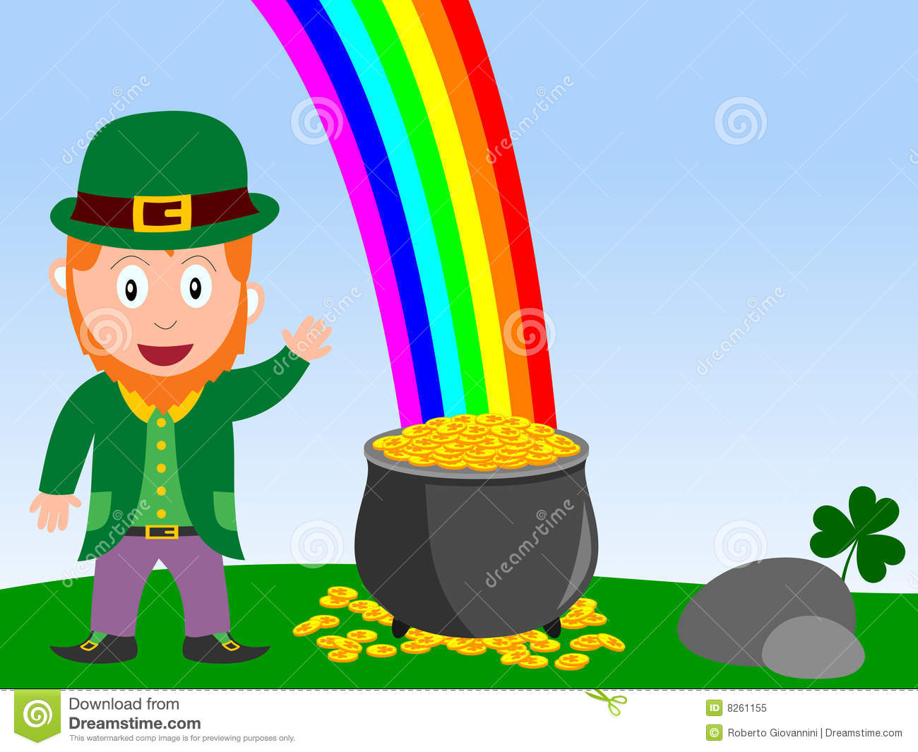 Leprechaun And Pot Of Gold Illustration Neo Coloring