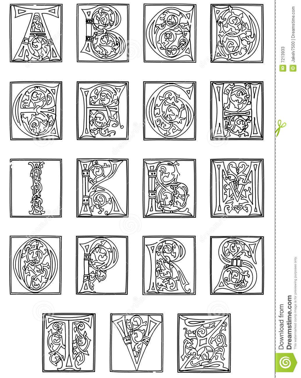 Me Val Illuminated Letters Coloring Pages