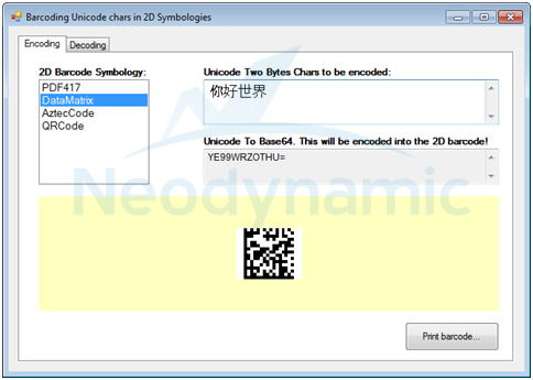 Encoding Unicode chars in 2D barcodes PDF417-DataMatrix-QRCode-AztecCode in VB-C#
