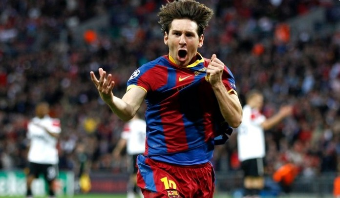 messi festeja gol de la champions league 2011