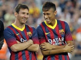 Messi y Neymar barcelona santos 2013