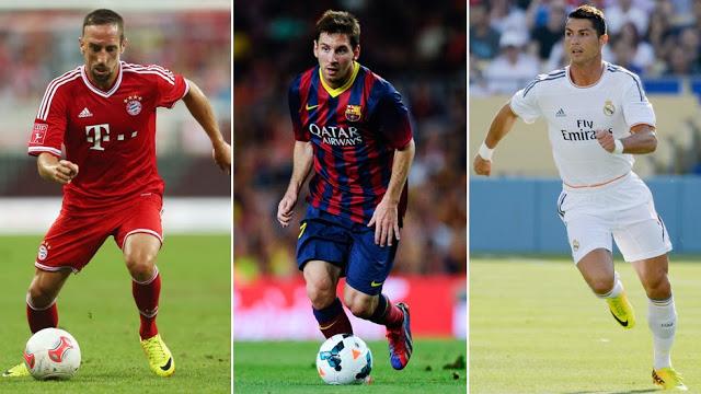 Lionel Messi, Franck Ribèry y Cristiano Ronaldo