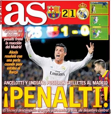 Barcelona vs. Real Madrid. Portada 27/10/13 diario AS