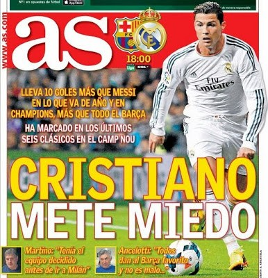 Barcelona vs. Real Madrid 2013-Portada del diario As