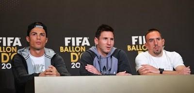 Cristiano Ronaldo, Messi y Ribery en la rueda de prensa del Balón de Oro 2013