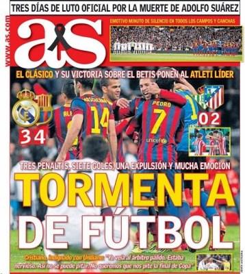 Real Madrid-Barcelona portada 23/03/2014 diario AS