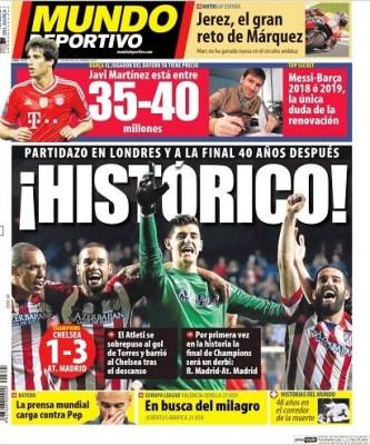 Portada Mundo Deportivo: Atlético Madrid finalista de la Champions League