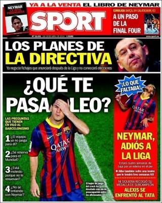 Las portadas: Usain Bale y que le pasa a Messi copa rey 2014 barcelona real madrid