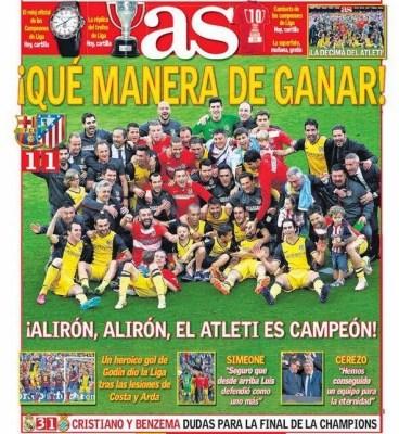 Portada As: Atlético Madrid Campeón Liga Española 2014