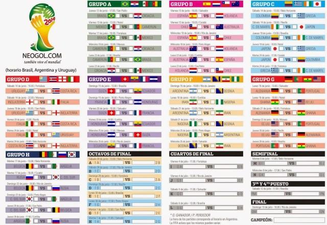 Almanaque del Mundial Brasil 2014 Todo el Calendario fixture