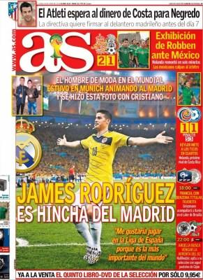 Portada As James Rodriguez Mundial Brasil 2014