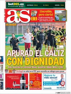 España se despide del Mundial hoy ante Australia: Portada AS mundial brasil 2014