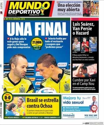 España se juega la clasificación ante Chile: Las portadas brasil méxico ochoa heroe mundial 2014