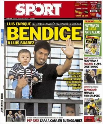 Portada Sport: Octavos de final Mundial Brasil luis suarez