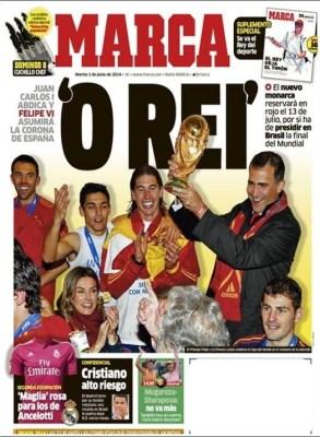 Portada Marca: El Rey Juan Carlos abdica al trono de España