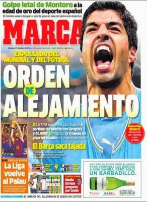 Portada Marca: Luis Suárez expulsado del Mundial de Brasil 2014