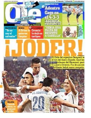 Portada Olé: España eliminada del Mundial Brasil 2014. Chile clasifica a octavos