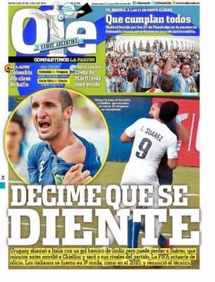 Italia eliminada, Suárez vuelve a morder: Las portadas ole mundial brasil