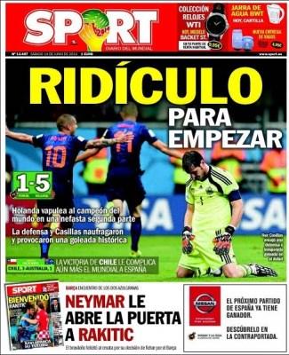 La paliza histórica de Holanda 5 a España 1: Las portadas sport mundial brasil 2014