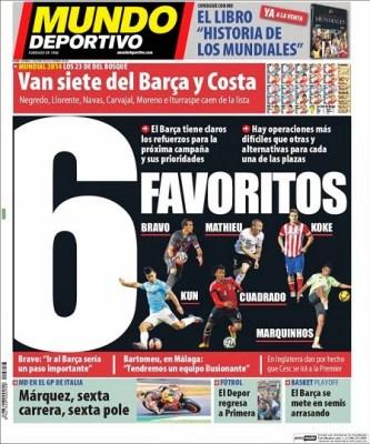 Portada Mundo Deportivo 1 junio 2014