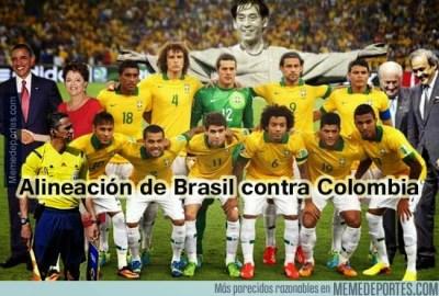 Memes y chistes de los Cuartos de Final: Mundial Brasil alineacion brasil colombia