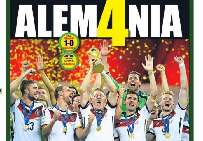 Portada Alemania Campeón Mundo 2014