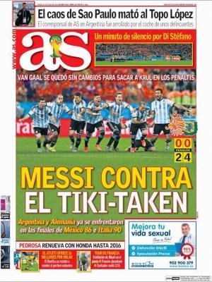 Portada AS: Argentina finalista Mundial Brasil 2014 tras vencer a Holanda en los penales