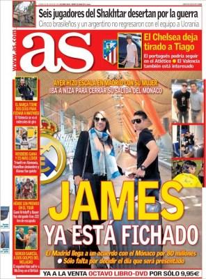 Portada AS: James Rodríguez ficha por el Real Madrid