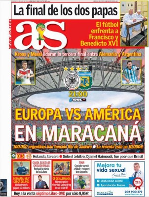 Portada AS: Final del Mundial Brasil 2014 Alemania vs. Argentina en maracana