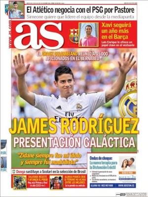 Portada AS: James Rodríguez es presentado a la afición del Real Madrid