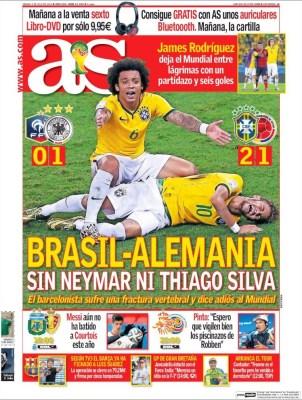 Portada AS, lesión Neymar contra Colombia, Mundial Brasil 2014