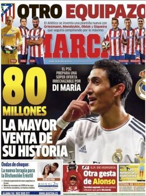 Portada Marca: El PSG quiere a Di María por 80 millones
