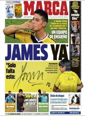 Portada Marca: James Rodríguez ficha por el Real Madrid