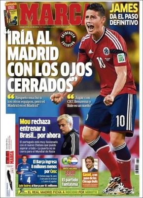 Portada Marca: James Rodríguez quiere ir al Real Madrid